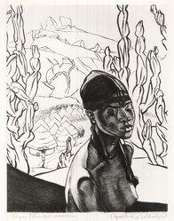 Cyrus LeRoy Baldridge (American, 1889-1975). <em>Pagan Princess - Nigeria</em>, 1938. Etching on laid paper, 10 3/4 x 8 1/2 in. (27.3 x 21.6 cm). Brooklyn Museum, Gift of Mrs. Harold J. Baily, 67.27.13. © artist or artist's estate (Photo: Brooklyn Museum, CUR.67.27.13.jpg)