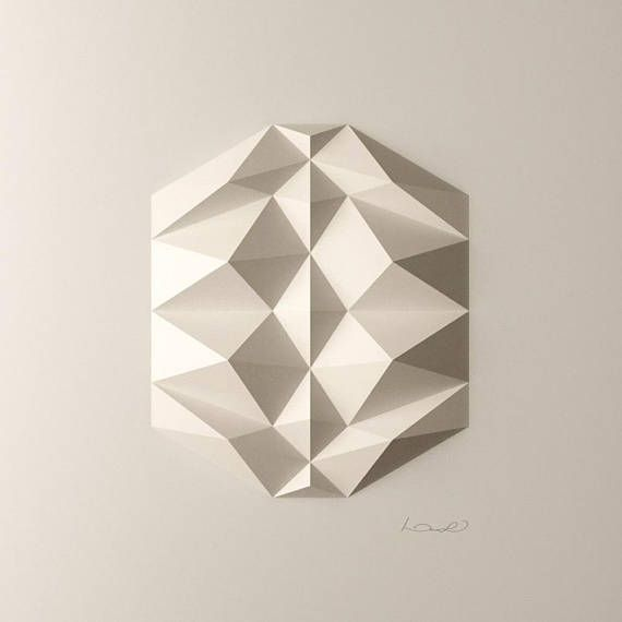Looking for a painting? Have wall sculpture instead!  Linear or radial composition, it depends on your point of view. This is a dodecahedrom seen from the side.  White abstract modern geometric wall art piece by Kubo Novak
