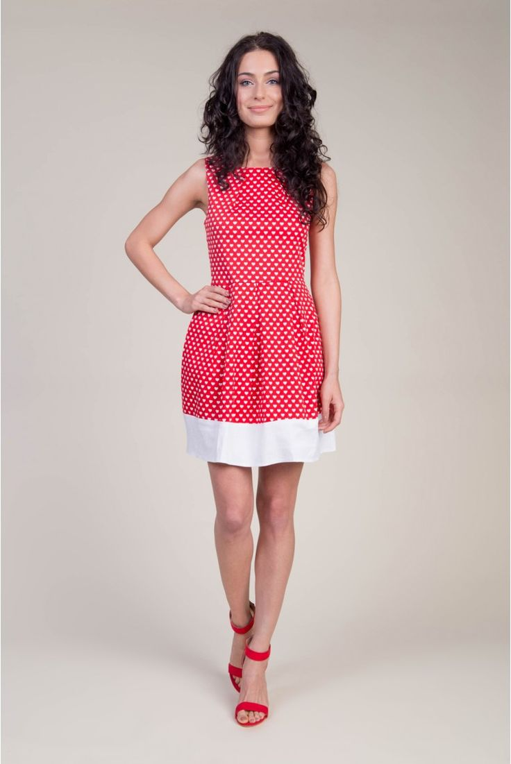 Piękna sukienka w serduszka w stylu pin up  #depare #dress #pinup #red #hearts #midi