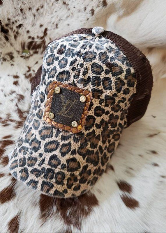 Upcycled Louis Vuitton canvas leopard trucker ball cap with bling ... 23a1ae9cefaa