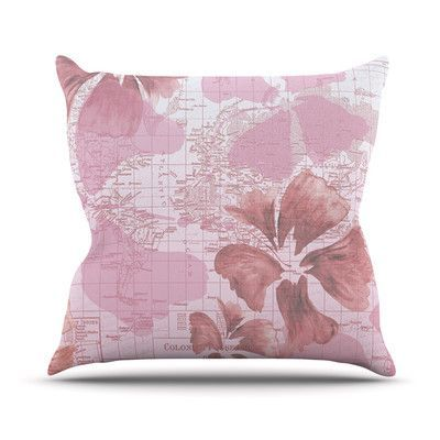 "KESS InHouse Flower Power Map Throw Pillow Size: 16'' H x 16'' W x 1"" D, Color: Pink"