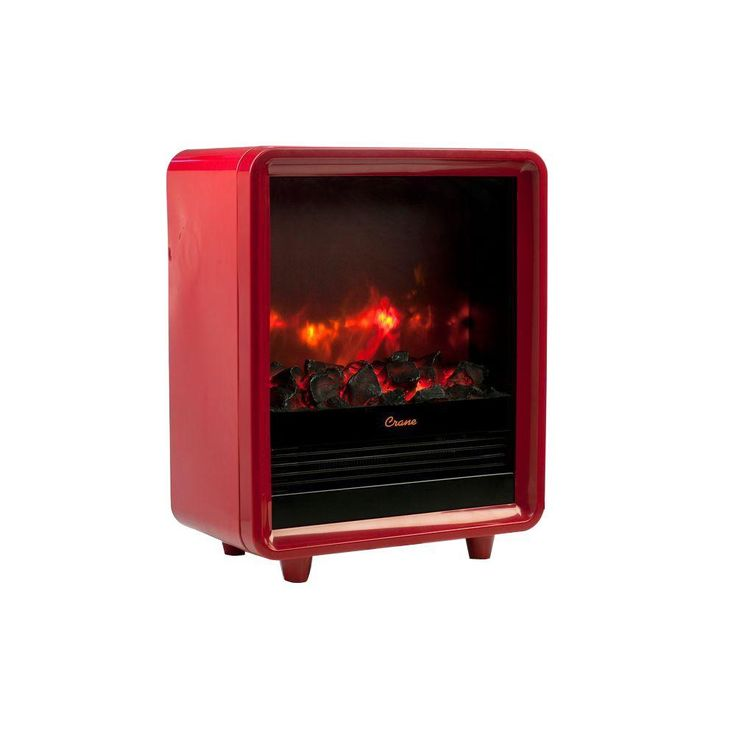 Crane 1500-Watt Mini Fireplace Radiant Electric Portable Heater - Red-EE-8075 R - The Home Depot (sold online only) | Tiny Homes
