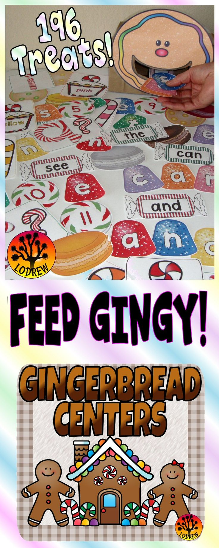 183 pages of gingerbread centers including literacy, math, fine motor skills, rhyming, cardinality, sight words, subitizing, sequencing, ten frames, counting, spelling, colors, visual discrimination, shapes, number sets, letter matching, and more. For kindergarten, preschool, SPED, child care, homeschool, or any early childhood setting.