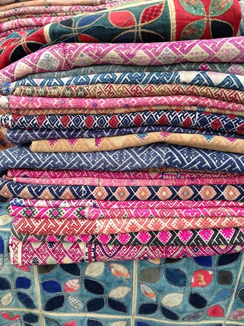 Colorful textiles at the Santa Monica flea market.