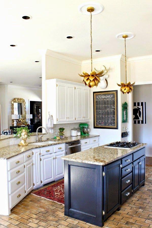 Our Home TOUR  ||  White kitchen cabinets  ||  Black island  ||  Gold lotus pendant lights  || brick floors