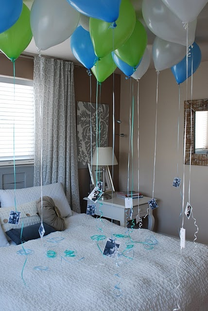 anniversary time...a balloon for each year of marriage with a love note attached...totally doing this for ours thats coming up, but I don't know if there is room for that many balloons.