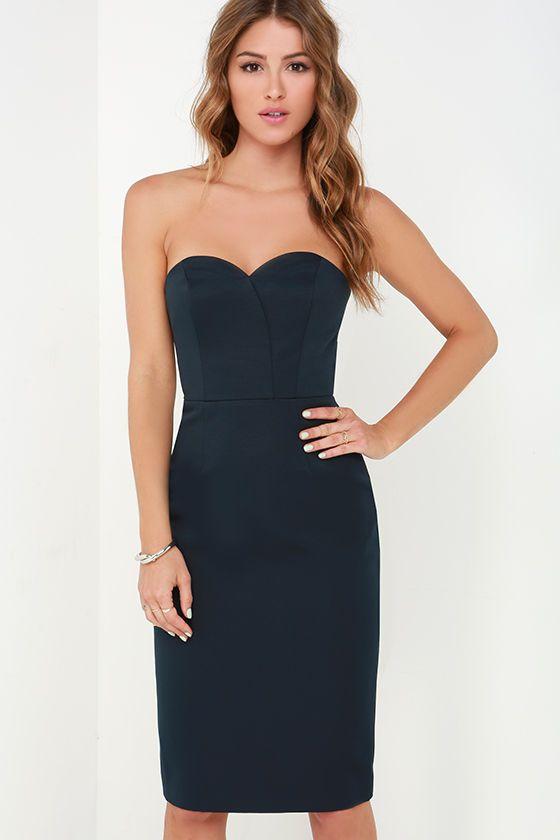 Finders Keepers Delirium Midnight Blue Strapless Midi Dress at Lulus.com!