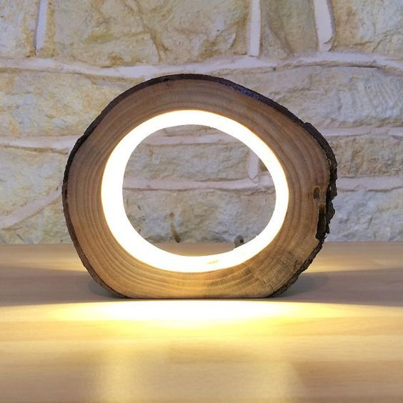 Small LED Log Light Table Lamp Desk Light Real Wooden Log Hollow Unusual Bedside Office Natural Repurposed Upcycled Wood