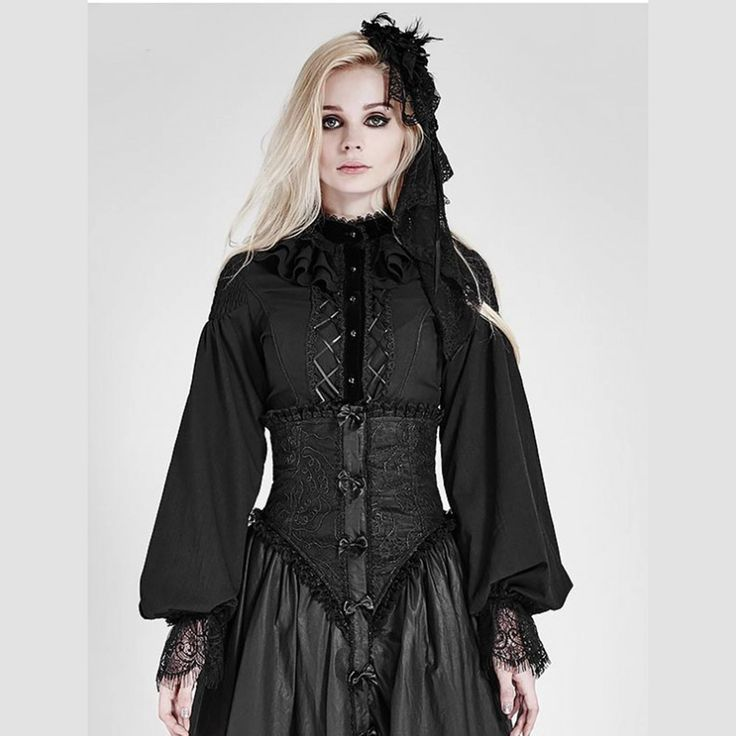 Goth Long Sleeve Blouse https://www.highvoltageclothing.com  #clothing #musthave #loveit #biker