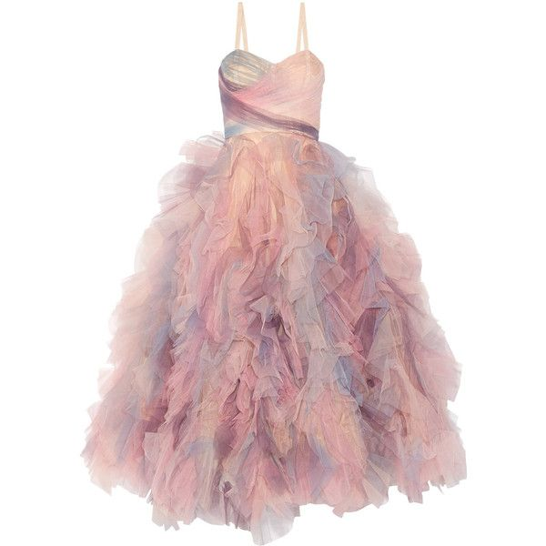 Marchesa Ruffled tulle gown found on Polyvore featuring dresses, gowns, long dresses, marchesa, pastel pink, pink dress, ruffle dress, ruffle gown, tulle dress and pink ball gown