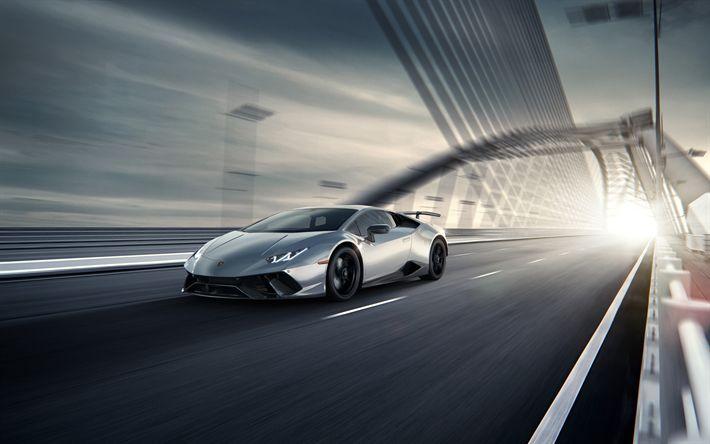 Download wallpapers Lamborghini Huracan, 4k, 2017 cars, silver Huracan, hypercars, Lamborghini