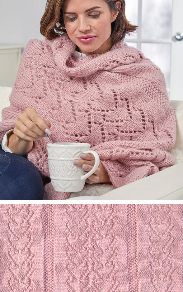 Free Knitting Pattern for Warming Hearts Sofa Shaw…