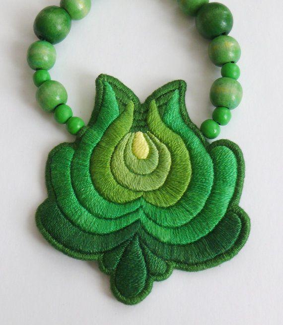 A Bit of Hungary  Hand Emroidered Matyo Folk Necklace by mokavicka, $37.00