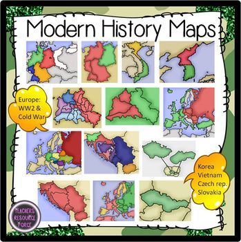 Modern History Maps (WW2 & Cold War) - Color & Greyscale