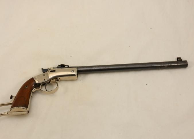 J Stevens Single Shot Pistol Model 35s Chambered In 22 With Wood Grip Serial Number 33319 Hand Guns Guns Pistol