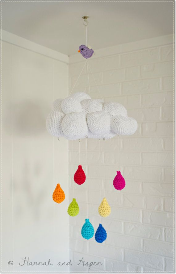 Baby mobile - Nursery Mobile - Crochet Mobile -  Cloud mobile with rainbow raindrops on Etsy, $55.00