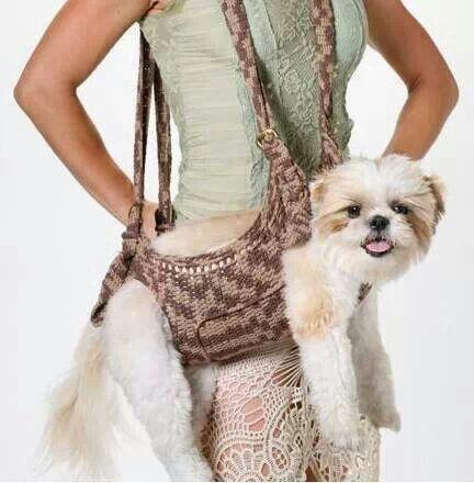 crochet handig for dog DIY craft useful +++ BOLSA PARA LLEVAR EL PERRO EN BRAZOS Y TENER LAS MANOS LIBRES UTIL MANUALIDAD