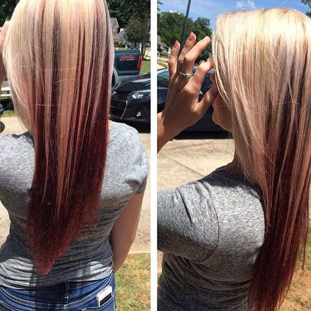 My hair. Blonde on top red underneath! In love ❤️