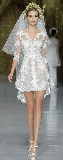 PRONOVIAS - SPRING 2014 - take my breath away - pretty sexy lady in in sexy wedding gown walking down the isle - luxury that captures her style and expresses her beauty - adorn her with #Thejewelryhut bridal jewelry gift of love.
