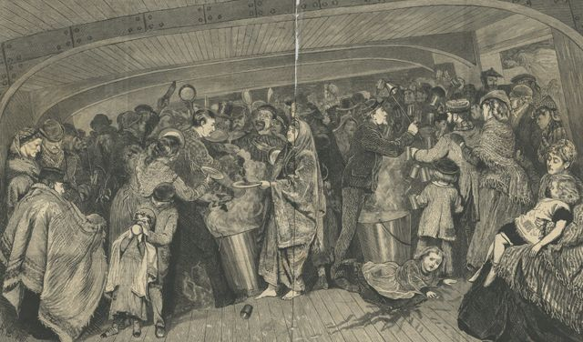 """AN ARTISTS NOTES ON BOARD THE """"INDUS"""" EMIGRANT SHIP THE GRAPHIC JUNE 29, 1872. The INDUS sailed from London to Brisbane showing some of the 500 steerage passengers, including Government emigrants"""". A barefoot Irish woman in her shawl is in the centre. The berths in this department were placed in a double row, with a zinc pail, and at times a looking-glass at the head of each."""