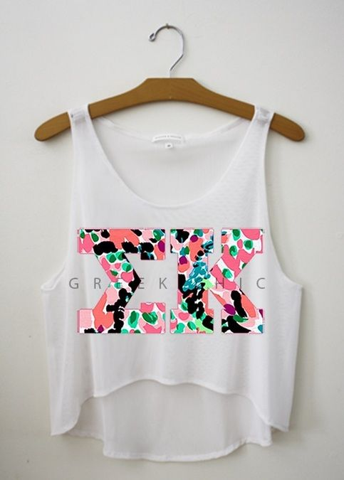 "Sigma Kappa Classic! Available in tank crop and sleeved flowy top.   Like this pattern, but not your sorority? Email us at greek-chic@hotmail.com with the link to the shirt, your sorority name, and how many you would like to order!  Shirt info:  - The faint ""GREEK CHIC"" written across the s..."