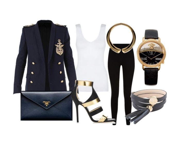 Love the chic-navy look! <3 #Balmain badged jacket, #Prada leather pouch, #JimmyChoo heels, #Versace watch, #MarcbyMarcJacobs leather bracelet, #Givenchy knit leggins