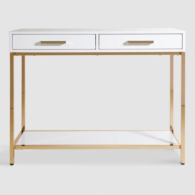 White And Gold Reid Console Table With Drawers V2 Console Table Modern Console Tables Console