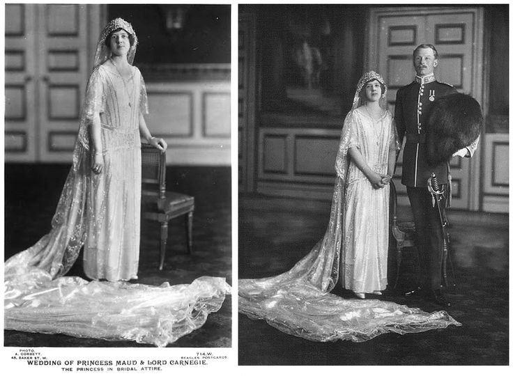 Chic Vintage Bride:  Wedding of Princess Maud (daughter of Princess Louise, eldest daughter of King Edward VII, and Alexander Duff, 1st Duke of Fife) and Charles Carnegie, 11th Earl of Southesk, November 12, 1923.  She was born Lady Maud Duff, but later was granted the title of Princess Maud of Fife by order of the King in 1905.