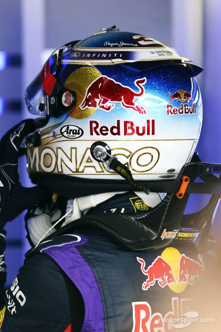 Daniel Ricciardo, Red Bull Racing, special Monaco helmets are the norm.