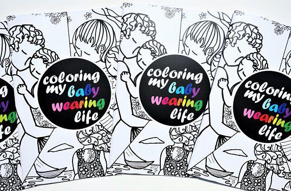 Coloring book.Babywearing.Motherhood art.Adults coloring
