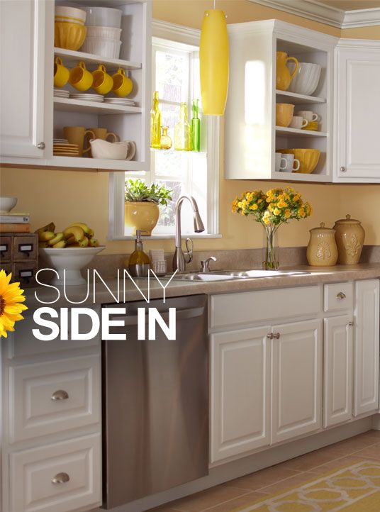 white kitchen with yellow accents (I would paint the walls white & just have the serving pieces be yellow)