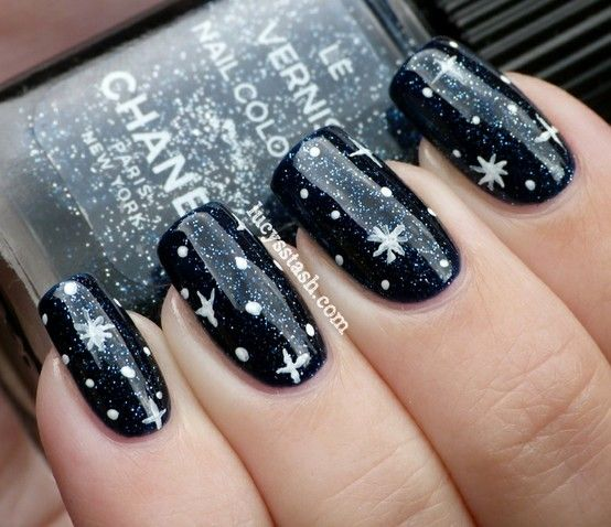 Nail, nail, nail / Chanel Night Sky, nail art stars Underneath the stars