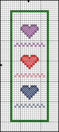 heart-trio-bookmark in cross stitch