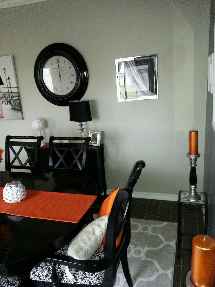 Orange grey black silver dining room dining room pinterest for Orange and grey dining room
