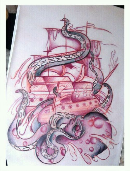 Pirate and octopus tattoo. i would have the ship turned the other way so the front is showing, not the back. then have an anchor dropped. i want to have the verse hebrews 6:19 also with it.