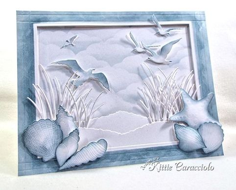 handcrafted card with KC Impression Obsession Shell Set ...  framed beach scene ... shells, gulls, grasses and dunes ... monochromatic blue gray  ... wonderful card!