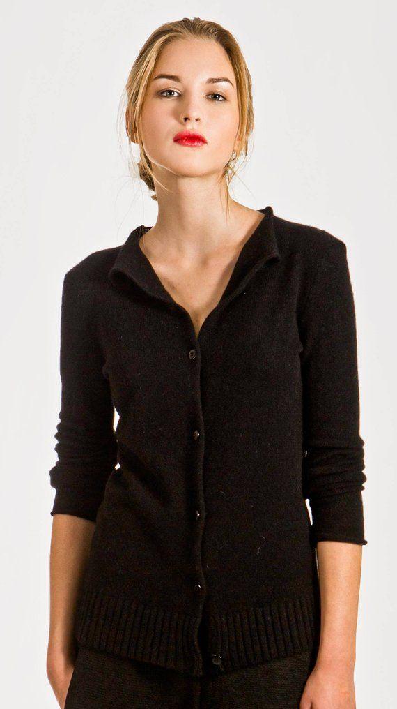 Black cashmere womens cardigan sweater Cashmere jumper Short ... 1e16afbd433d