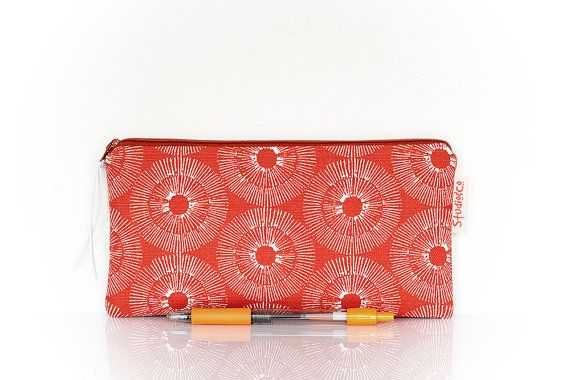 Rust brown pouch Circle pencil case zippered pen by StudioAndCo