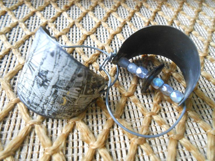 Tin hoop earrings, salvaged tin, fossilized shark teeth, handmade jewelry by RosinTrails on Etsy