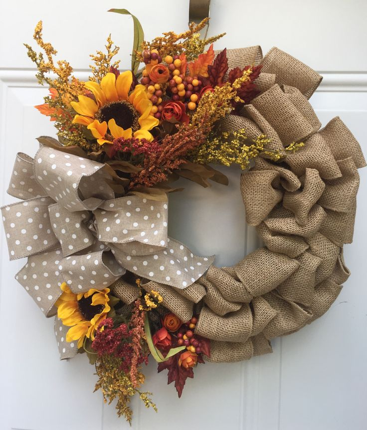 Fall burlap wreath with sunflowers
