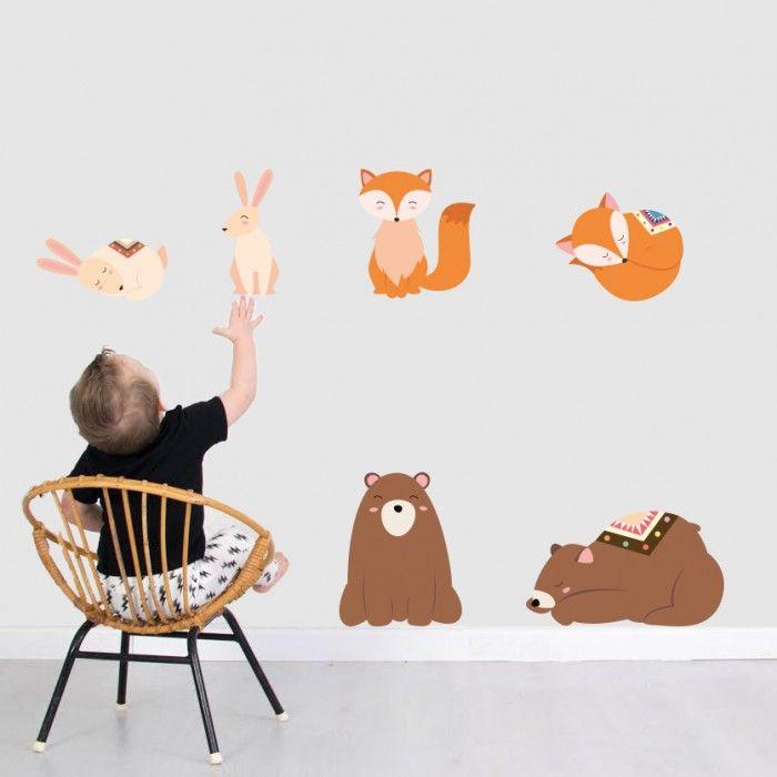 Muursticker vosjes en beren   Little DreamZzz