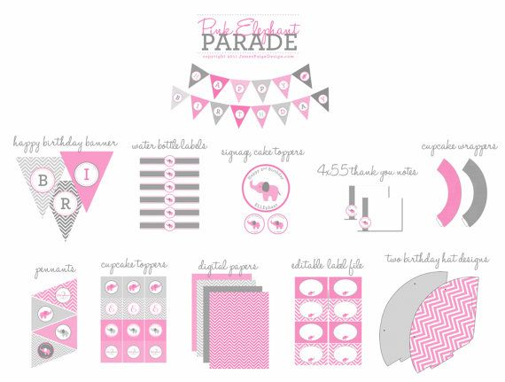PINK ELEPHANT PARADE Party Printables Set   by JamesPaigeDesign