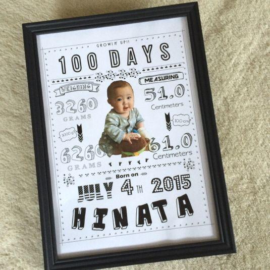 リクエストにお答えして100日お祝いのポスターを作製しました!100日祝いの記念、プレゼント、インテリアとしても最適です♡記念すべき生後100日の赤ちゃんのデータを可愛いポスターにして♪男女兼用です。◆購入から発送までの流れ◆ご購入(ご入金は完成までの間...