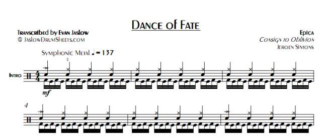 "Drum tab sheet music transcription for ""Dance of Fate"" by Epica. Taken from the 2005 album Consign to Oblivion. Notation key included. Symphonic metal. Difficulty 4/5. #drums #drumsheetmusic #epica"