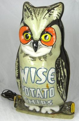 Wise Potato Chip Owl LampPotatoes Chips, Owls Vintage, Owls Lamps, Chips Owls, Wise Potatoes, Chips Lights, Chips Dips, Lights Owls, Vintage Advertising