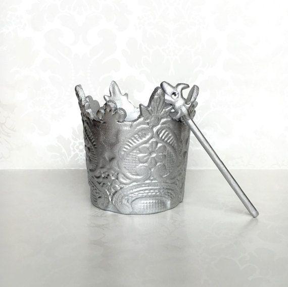 Silver Fondant Crown Cake Topper. Prince Crown by MargieSugarArt