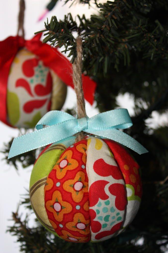 21 DIY Styrofoam Ball Christmas Ornaments — fabric ornament tutorial
