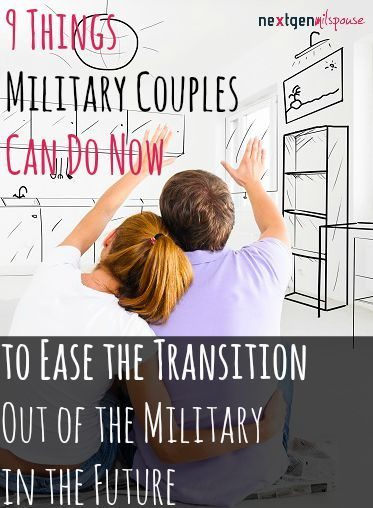 9 Things You Can Do Now to Ease the Transition Out of the Military in the Future Pin now. Read when you're prepping for civilian life.  (scheduled via http://www.tailwindapp.com?utm_source=pinterest&utm_medium=twpin&utm_content=post10119826&utm_campaign=scheduler_attribution)