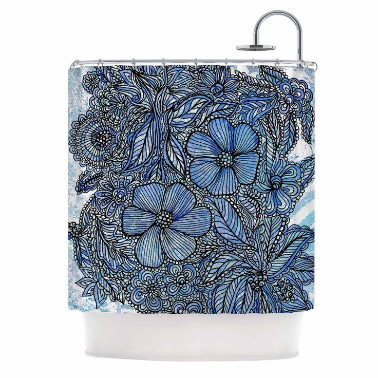 Kess InHouse Julia Grifol Blue Flowers In My Garden Aqua Navy Shower Curtain