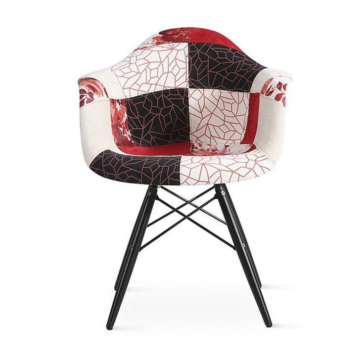 Sillón · Armchair Naira Limited Edition 80x63x61 Tapizado en color negro y blanco o rojo estilo patchwork, patas tipo eiffel. #ArmonySpaceBCN